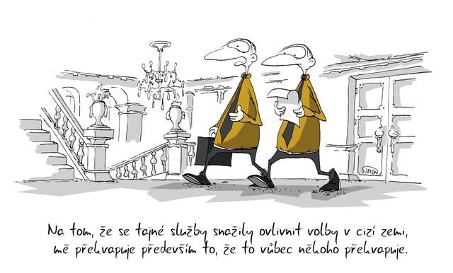 Kreslený vtip: Na tom, že se tajné služby snažily ovlivnit volby v cizí zemi, mě překvapuje především to, že to vůbec někoho překvapuje. Autor: Marek Simon