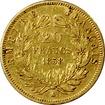 Zlatá mince 20 Frank Napoleon III. 1858