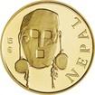 Zlatá investiční mince Maska z regionu Nepál - Tharu 1/10 Oz 2015