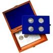 Sada stříbrných pamětních mincí roku 2002 v dřevěné krabičce Standard