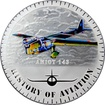 Stříbrná mince kolorovaný Amiot 143 History of Aviation 2015 Proof