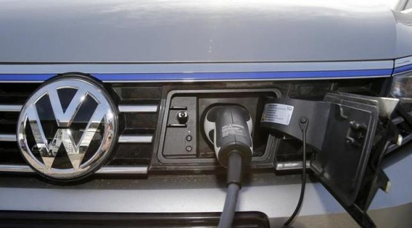 The charging plug of an electric Volkswagen Passat car
