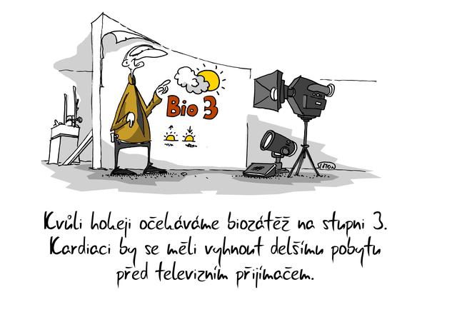 Kreslený vtip: Kvůli hokeji očekáváme biozátěž na stupni 3. Kardiaci by se měli vyhnout delšímu pobytu před televizním přijímačem. Autor: Marek Simon