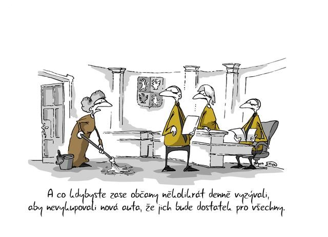 Kreslený vtip: A co kdybyste zase občany několikrát denně vyzývali, aby nevykupovali nová auta, že jich bude dostatek pro všechny. Autor: Marek Simon