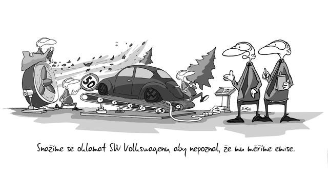 Kreslený vtip: Snažíme se oklamat sw Volksvagenu, aby nepoznal, že mu měříme emise. Autor: Marek Simon