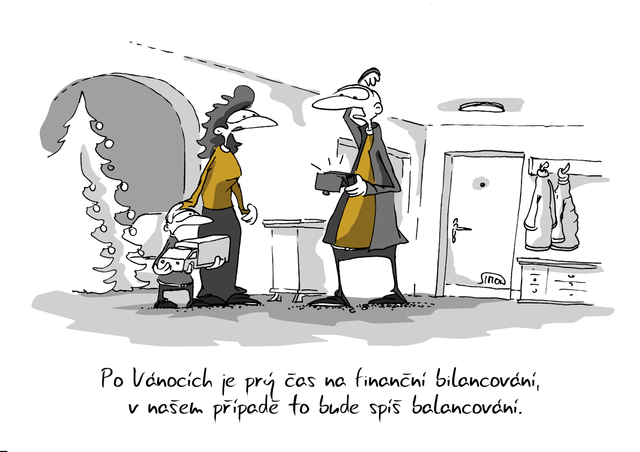Kreslený vtip: Po Vánocích je prý čas na finanční bilancování, v našem případě to bude spíše balancování. Autor: Marek Simon