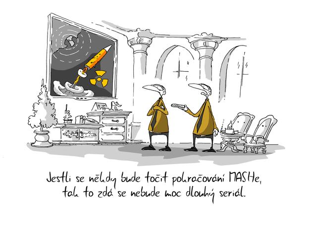 Kreslený vtip: Jestli se někdy bude točit pokračování MASHe, tak to zdá se nebude moc dlouhý seriál. Autor: Marek Simon