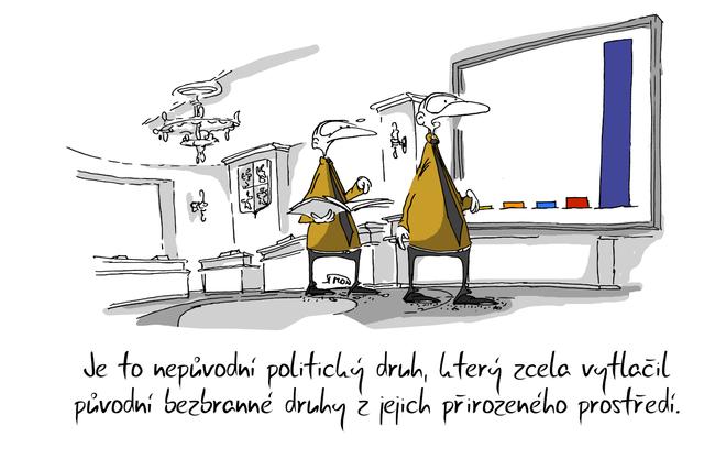 Kreslený vtip: Je to nepůvodní politický druh, který zcela vytlačil původní bezbranné druhy z jejich přirozeného prostředí. Autor: Marek Simon