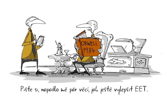 Kreslený vtip: Pište si, napadlo mě pár věcí, jak ještě vylepšit EET. Autor: Marek Simon