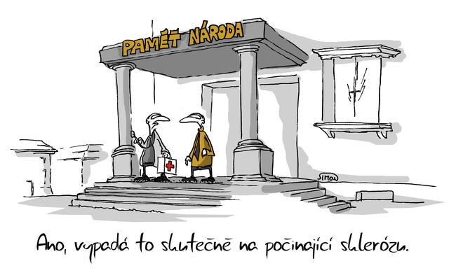 Kreslený vtip: Ano, vypadá to skutečně na počínající sklerózu. Autor: Marek Simon