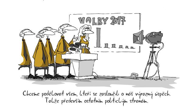Kreslený vtip: Chceme poděkovat všem, kteří se zasloužili o náš výrazný úspěch. Takže především ostatním politickým stranám. Autor: Marek Simon