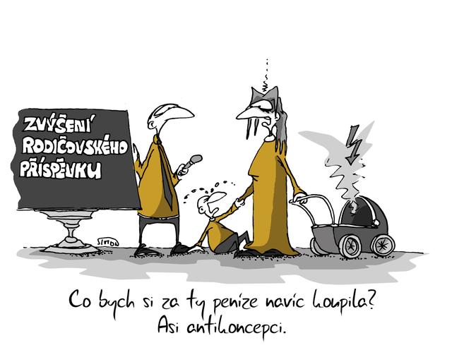 Kreslený vtip: Co bych si za ty peníze koupila? Asi antikoncepci. Autor: Marek Simon