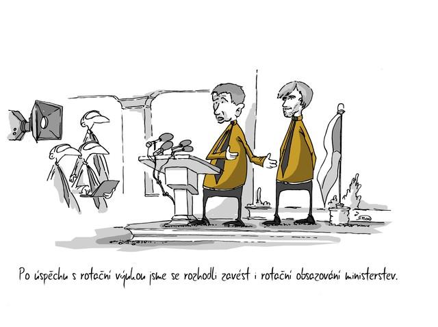 Kreslený vtip: Po úspěchu s rotační výukou jsme se rozhodli zavést i rotační obsazování ministerstev. Autor: Marek Simon