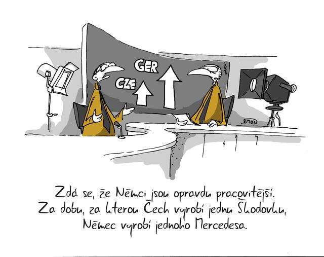 Kreslený vtip: Zdá se, že Němci jsou opravdu pracovitější. Za dobu, za kterou Čech vyrobí jednu Škodovku, Němec vyrobí jednoho Mercedesa. Autor: Marek Simon