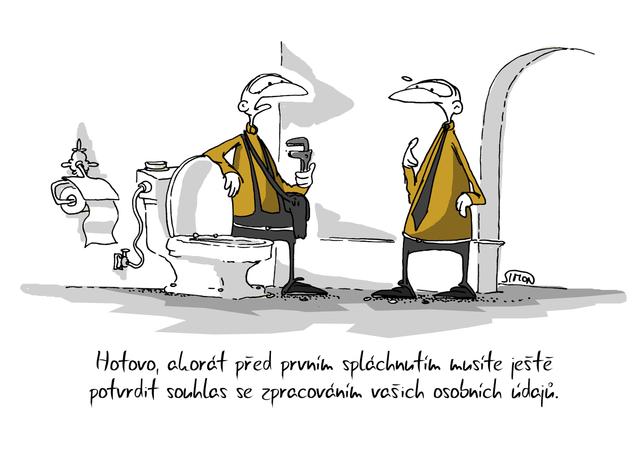 Kreslený vtip: Hotovo, akorát před prvním spláchnutím musíte ještě potvrdit souhlas se zpracováním vašich osobních údajů. Autor: Marek Simon