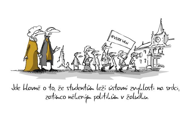 Kreslený vtip: Jde hlavně o to, že studentům leží ústavní zvyklosti na srdci, zatímco některým politikům v žaludku. Autor: Marek Simon