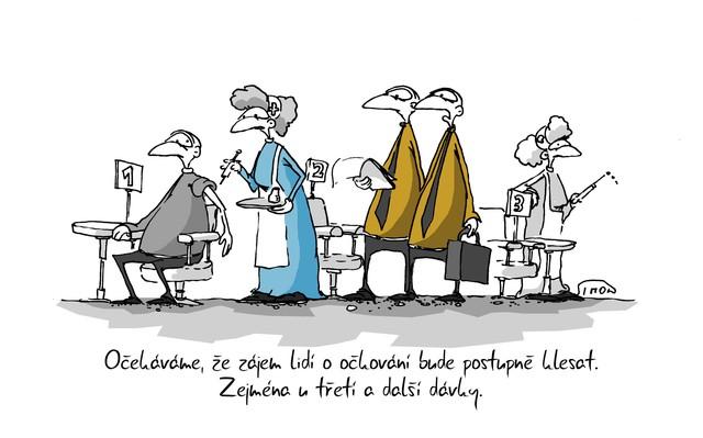 Kreslený vtip: Očekáváme, že zájem lidí o očkování bude postupně klesat. Zejména u třetí a další dávky. Autor: Marek Simon