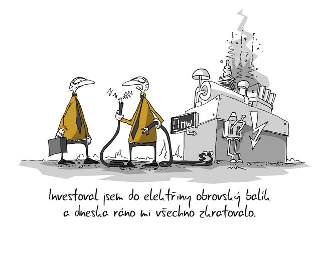 Kreslený vtip: Investoval jsem do elektřiny obrovský balík a dneska ráno mi všechno zkratovalo. Autor: Marek Simon