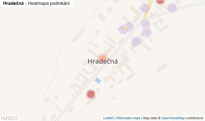 Mapa Hradečná - Firmy v části obce.