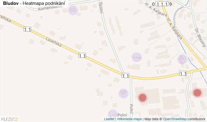 Mapa Bludov - Firmy v obci.