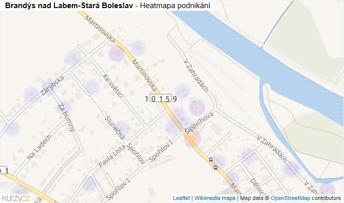 Mapa Brandýs nad Labem-Stará Boleslav - Firmy v obci.