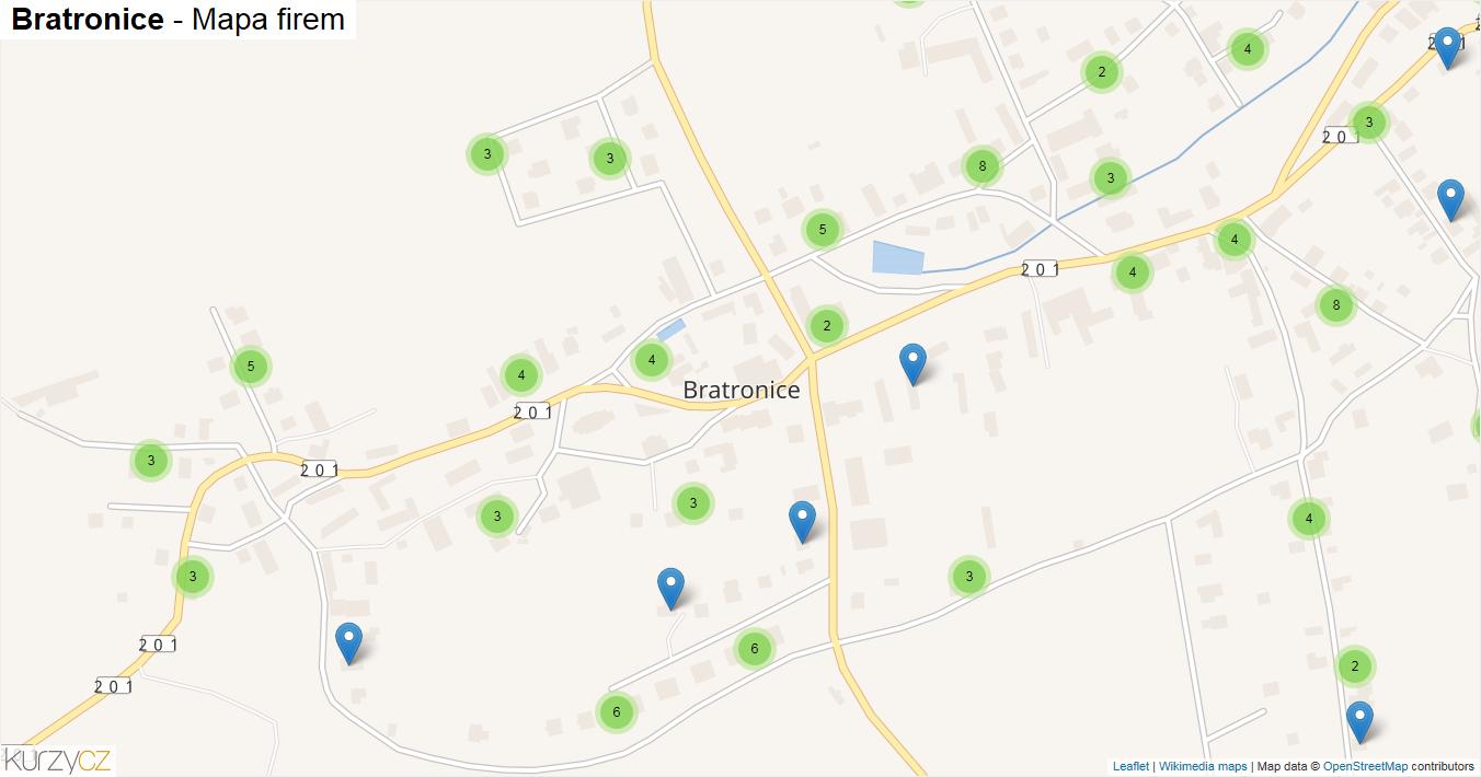 Bratronice - mapa firem