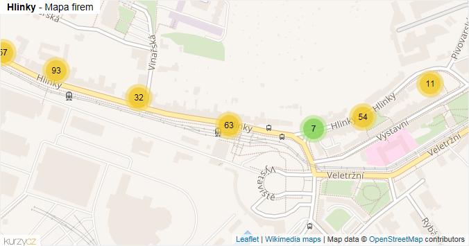 Mapa Hlinky - Firmy v ulici.