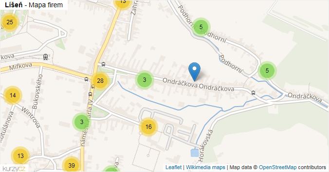 Mapa Líšeň - Firmy v části obce.