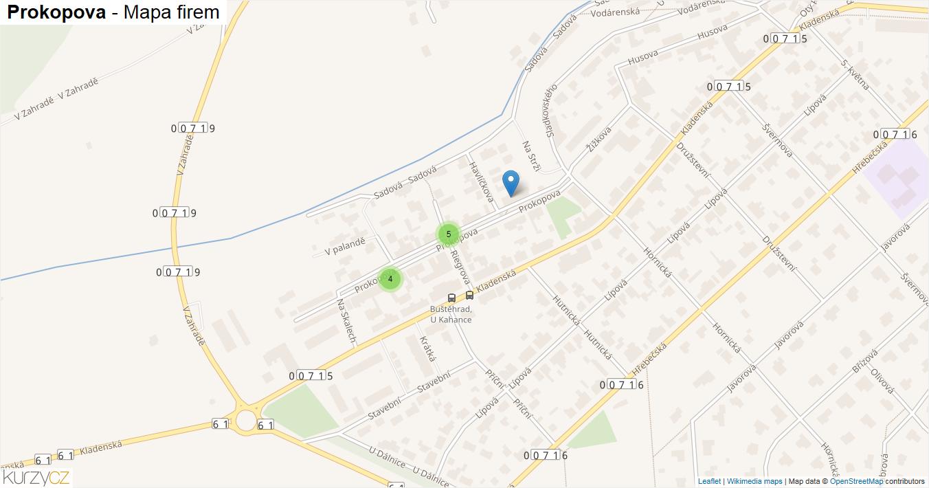 Prokopova - mapa firem