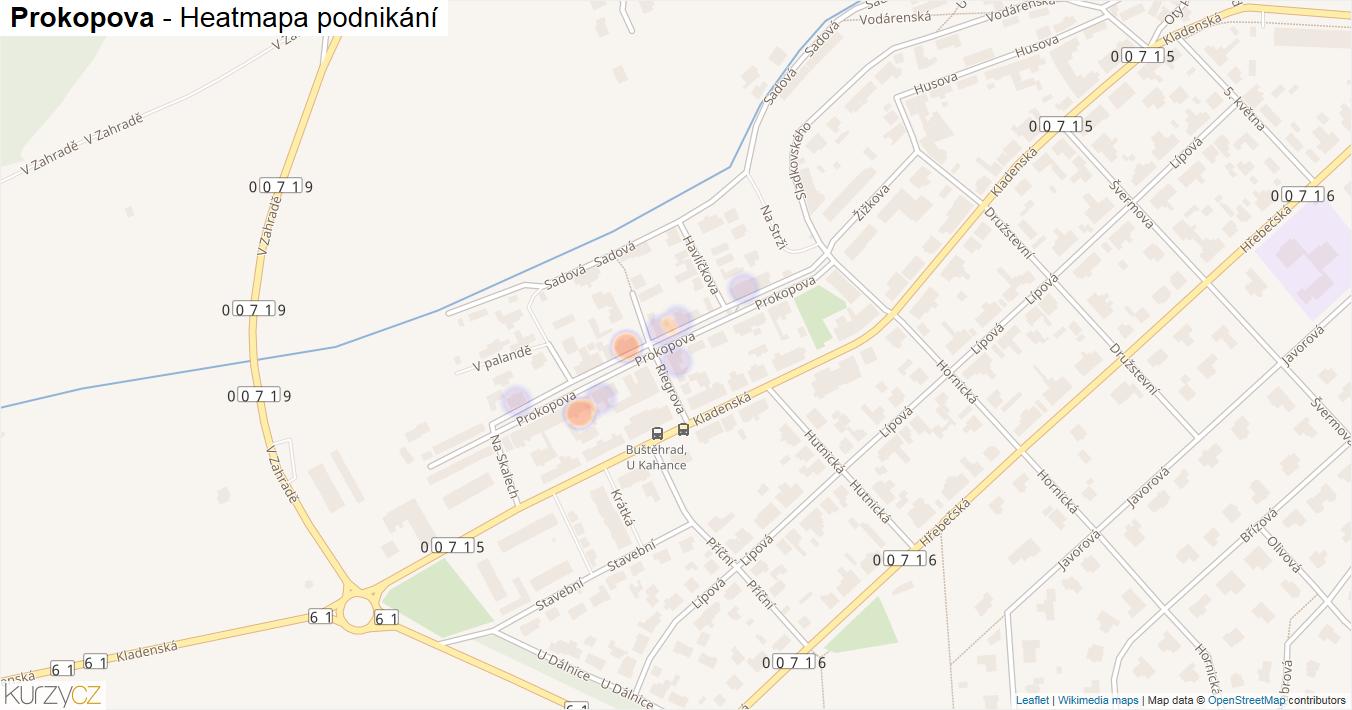 Prokopova - mapa podnikání