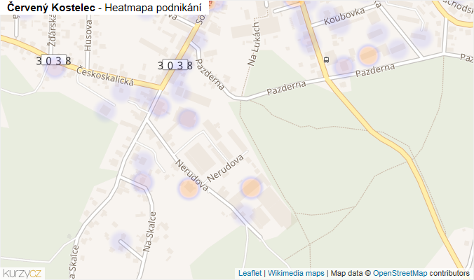 Mapa Červený Kostelec - Firmy v obci.
