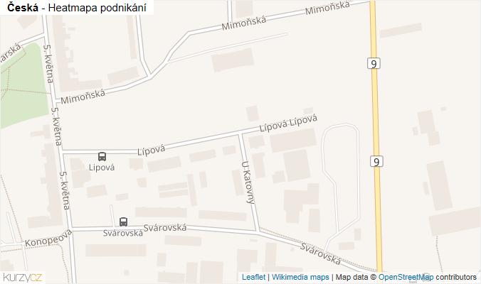 Mapa Česká - Firmy v ulici.