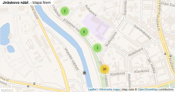 Mapa Jiráskovo nábř. - Firmy v ulici.