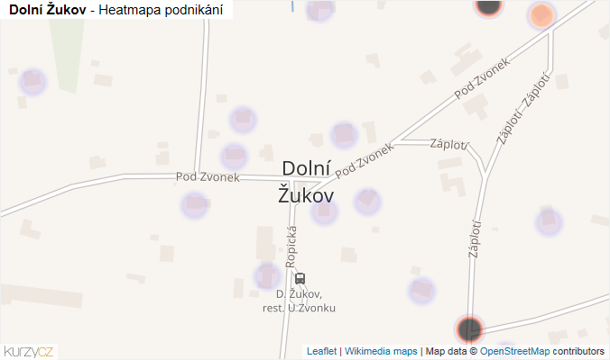 Mapa Dolní Žukov - Firmy v části obce.
