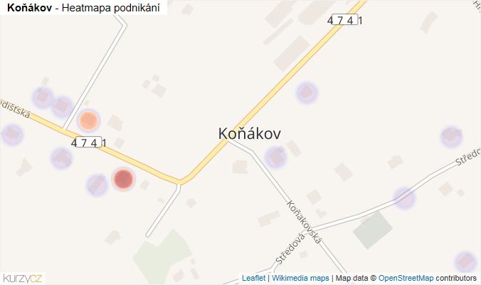 Mapa Koňákov - Firmy v části obce.
