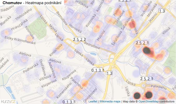 Mapa Chomutov - Firmy v obci.