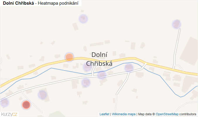 Mapa Dolní Chřibská - Firmy v části obce.