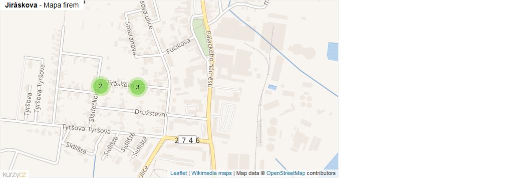 Mapa Jiráskova - Firmy v ulici.
