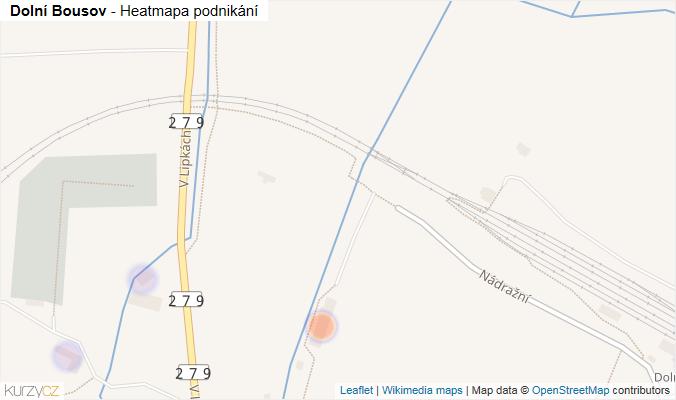 Mapa Dolní Bousov - Firmy v obci.