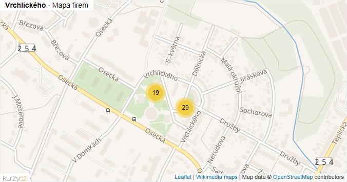 Mapa Vrchlického - Firmy v ulici.