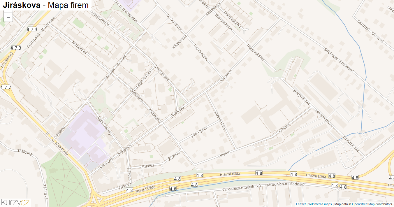 Jiráskova - mapa firem