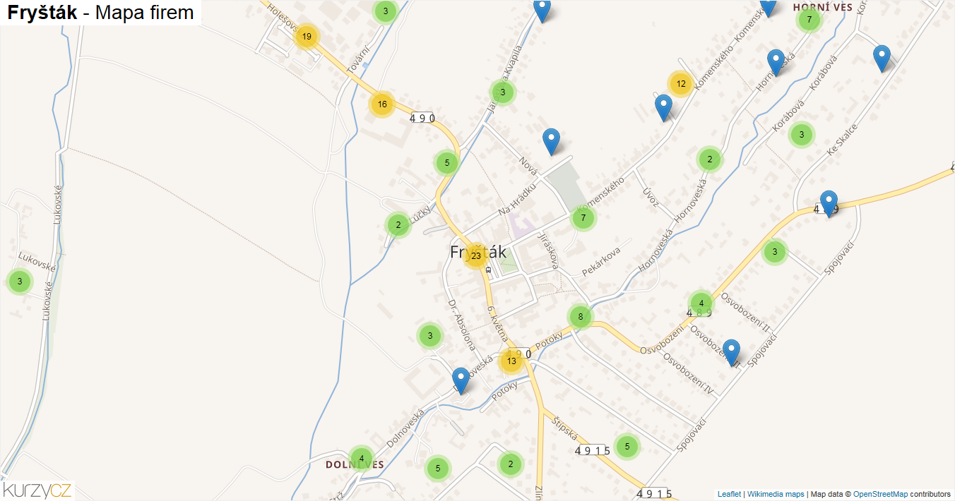 Fryšták - mapa firem