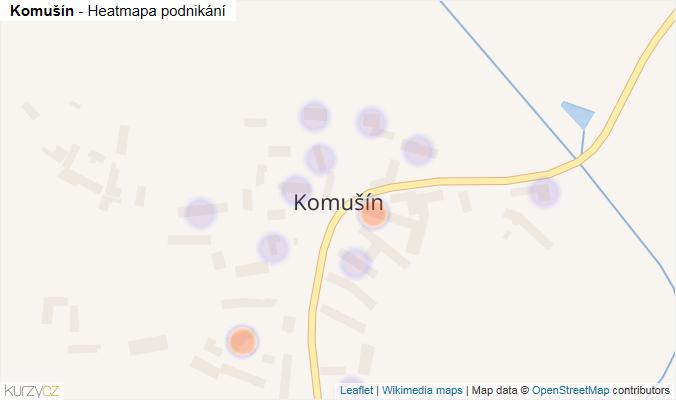 Mapa Komušín - Firmy v části obce.