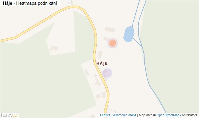 Mapa Háje - Firmy v části obce.