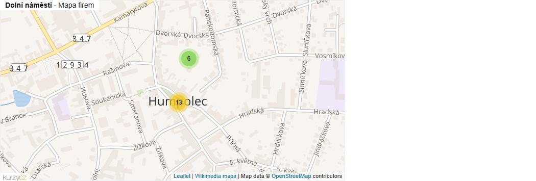 Mapa Dolní náměstí - Firmy v ulici.