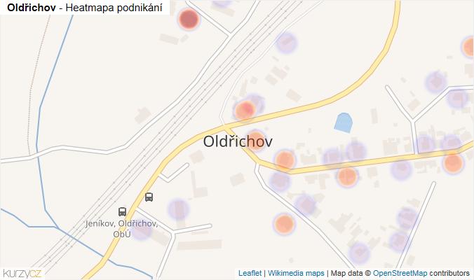 Mapa Oldřichov - Firmy v části obce.