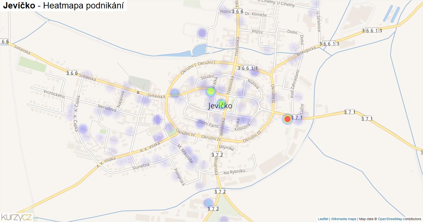 Jevíčko - mapa podnikání