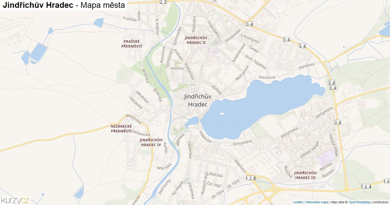 Jindřichův Hradec - mapa města