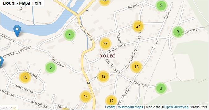 Mapa Doubí - Firmy v části obce.