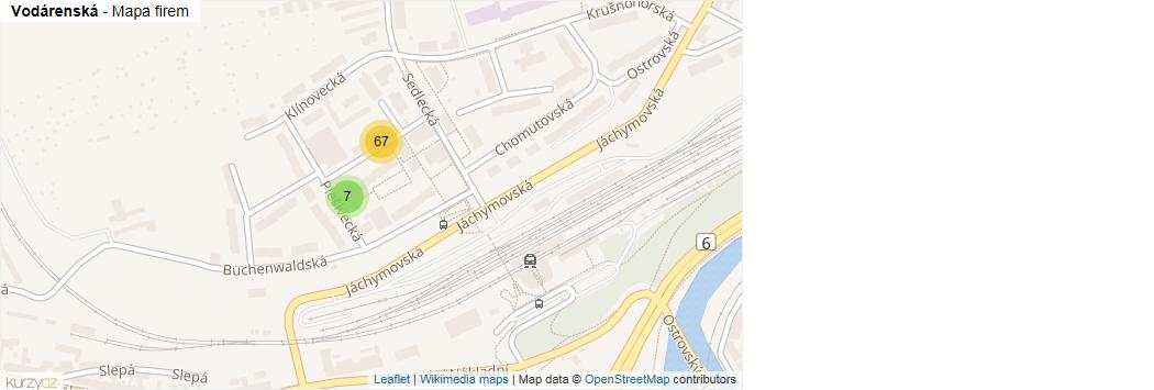 Mapa Vodárenská - Firmy v ulici.